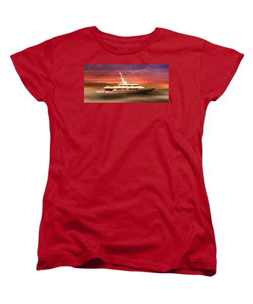 Women's T-Shirt (Standard Cut) featuring the photograph Triton Yacht by Aaron Berg
