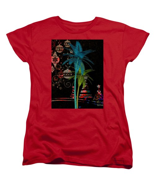 Women's T-Shirt (Standard Cut) featuring the digital art Tropical Holiday Red by Megan Dirsa-DuBois