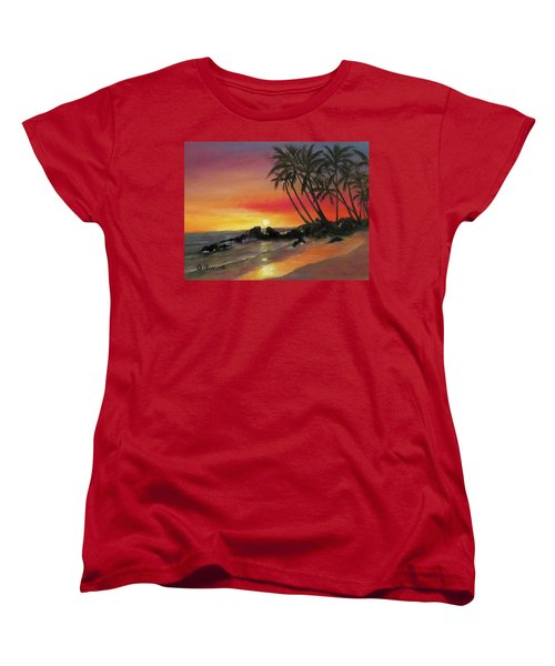 Women's T-Shirt (Standard Cut) featuring the painting Tropical Sunset by Roseann Gilmore