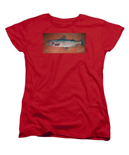 Women's T-Shirt (Standard Cut) featuring the painting Trout by Andrew Drozdowicz