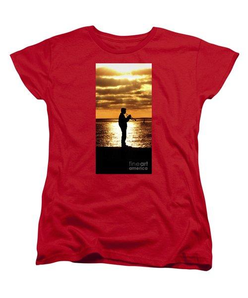 Trumpet Player Women's T-Shirt (Standard Cut) by Linda Olsen