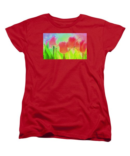 Tulips In Abstract 2 Women's T-Shirt (Standard Cut) by Cathy Anderson