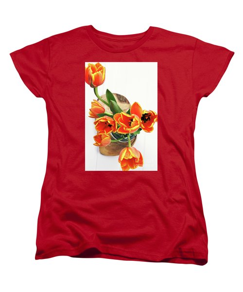 Women's T-Shirt (Standard Cut) featuring the pyrography Tulips by Stephanie Frey