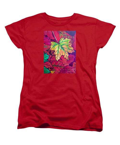 Women's T-Shirt (Standard Cut) featuring the painting Turning Maple Leaf In The Fall by Kimberlee Baxter