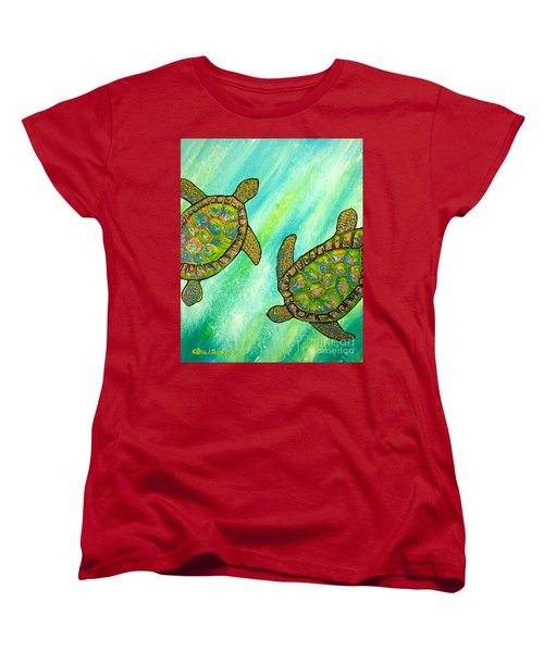Women's T-Shirt (Standard Cut) featuring the painting Turtle Sea Dance by Patricia L Davidson
