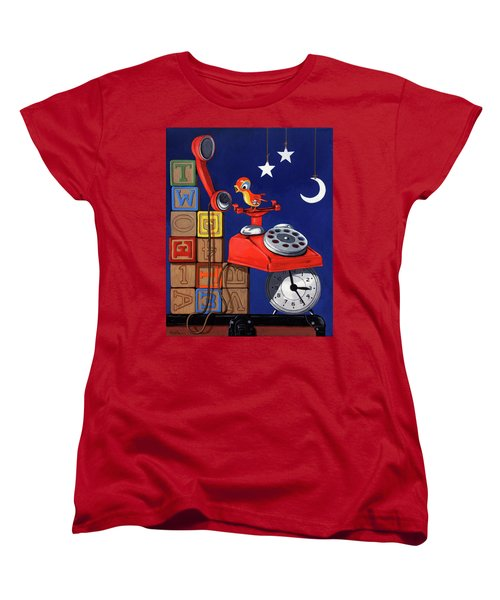 Women's T-Shirt (Standard Cut) featuring the painting Tweets -narrative Painting by Linda Apple