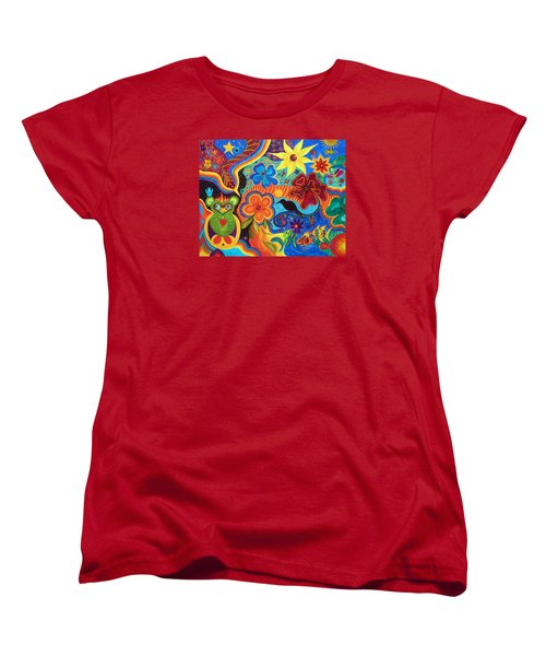 Women's T-Shirt (Standard Cut) featuring the painting Bluebird Of Happiness by Marina Petro