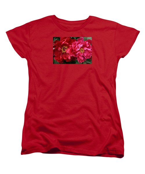 Twin Peonies Women's T-Shirt (Standard Cut) by Bruce Bley