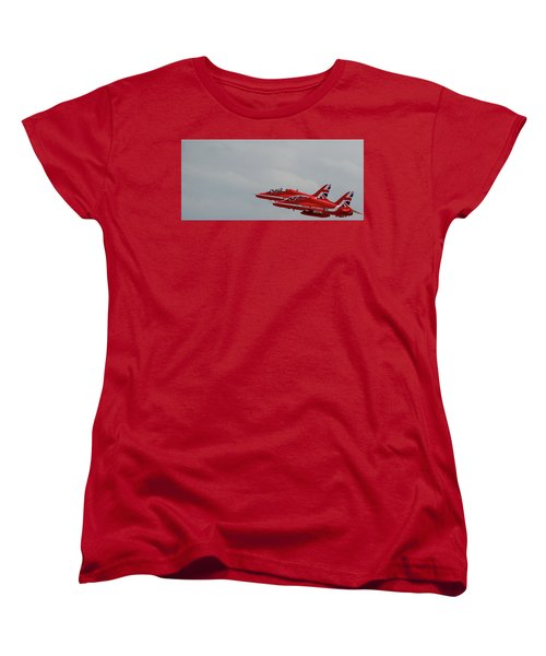 Women's T-Shirt (Standard Cut) featuring the photograph Twin Red Arrows Taking Off - Teesside Airshow 2016 by Scott Lyons