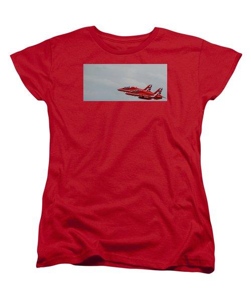 Twin Red Arrows Taking Off - Teesside Airshow 2016 Women's T-Shirt (Standard Cut) by Scott Lyons