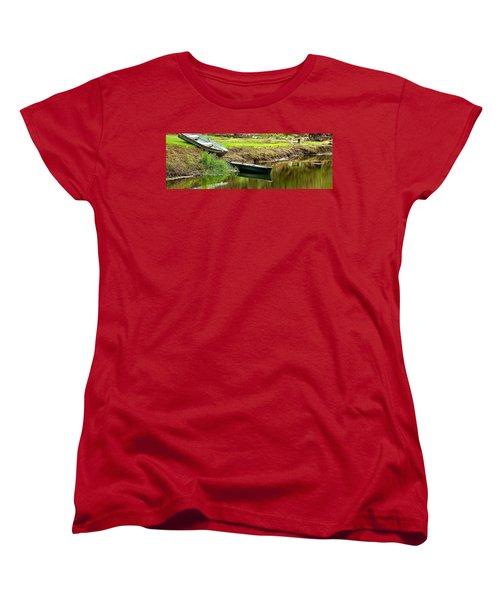 Two Boats Reflection 1024 Women's T-Shirt (Standard Cut) by Jerry Sodorff