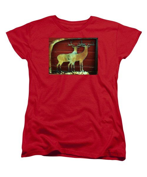 Women's T-Shirt (Standard Cut) featuring the photograph Two Bucks 1 by Larry Campbell