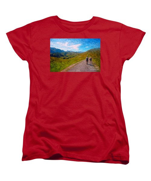 Two Hikers In Adelboden Women's T-Shirt (Standard Cut) by Gerhardt Isringhaus