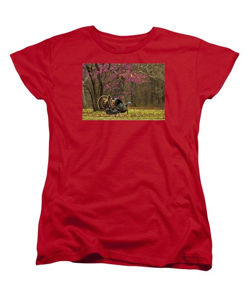 Two Tom Turkey And Redbud Tree Women's T-Shirt (Standard Cut) by Sheila Brown