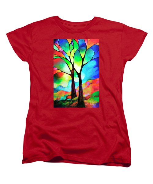 Two Trees Women's T-Shirt (Standard Cut) by Sally Trace