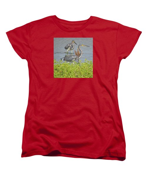 Women's T-Shirt (Standard Cut) featuring the photograph Two Tri Colored Herons by Phyllis Beiser