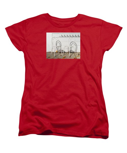 Two White Chairs And Autumn Wind Women's T-Shirt (Standard Cut) by Gary Slawsky