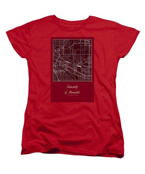 U Of M Street Map - University Of Minnesota Minneapolis Map Women's T-Shirt (Standard Cut) by Jurq Studio