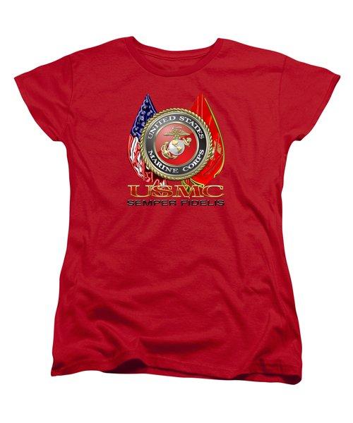 U. S. Marine Corps U S M C Emblem On Red Women's T-Shirt (Standard Cut) by Serge Averbukh