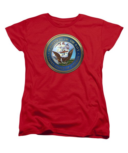 U. S.  Navy  -  U S N Emblem Over Red Velvet Women's T-Shirt (Standard Cut) by Serge Averbukh