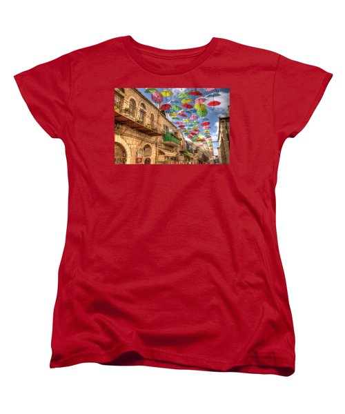 Umbrellas Over Jerusalem Women's T-Shirt (Standard Cut) by Uri Baruch