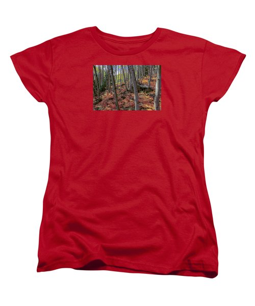 Women's T-Shirt (Standard Cut) featuring the photograph Under The Aspens by Perspective Imagery
