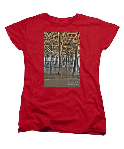 Women's T-Shirt (Standard Cut) featuring the photograph Under The Boardwalk Pier Sunbeams  by David Zanzinger