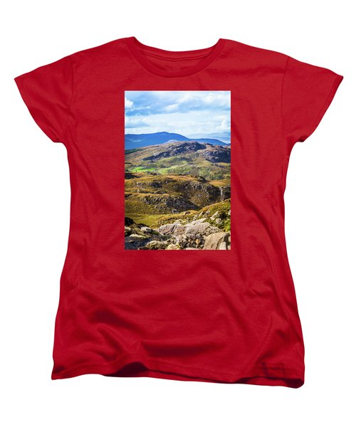 Women's T-Shirt (Standard Cut) featuring the photograph Undulating Green, Purple And Yellow Rocky Landscape In  Ireland by Semmick Photo