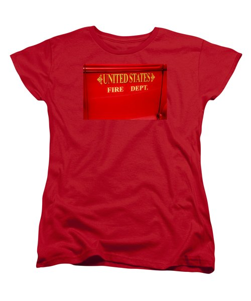 United States Fire Department Engine Women's T-Shirt (Standard Cut) by Toni Hopper
