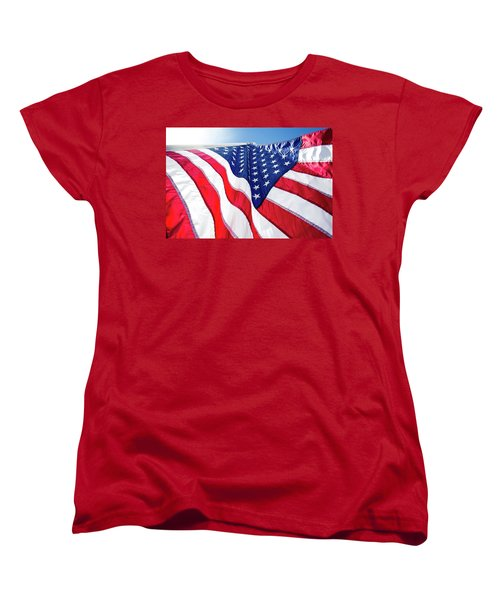 Usa,american Flag,rhe Symbolic Of Liberty,freedom,patriotic,hono Women's T-Shirt (Standard Cut) by Jingjits Photography