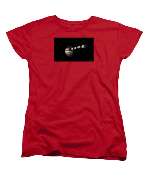 Women's T-Shirt (Standard Cut) featuring the digital art Uss Savannah Approaching Jupiter by David Robinson