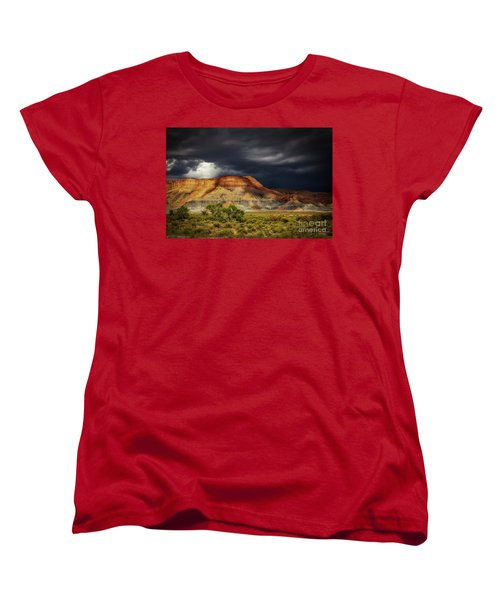 Women's T-Shirt (Standard Cut) featuring the photograph Utah Mountain With Storm Clouds by John A Rodriguez