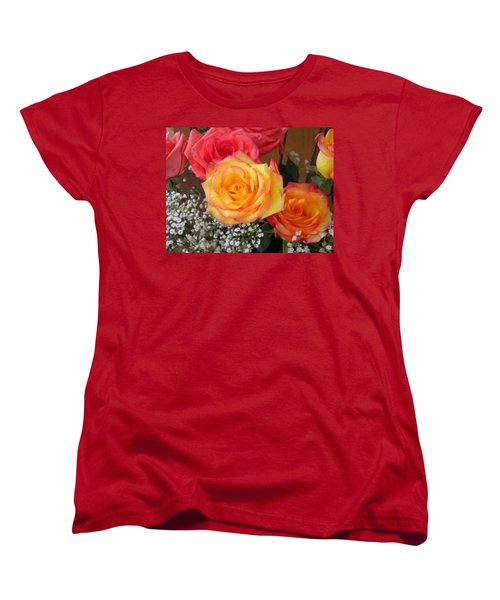 Women's T-Shirt (Standard Cut) featuring the painting Valentine's Day Roses 2 by Renate Nadi Wesley