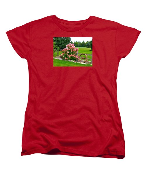 Vanilla Strawberry Hydrangea Women's T-Shirt (Standard Cut) by Randy Rosenberger