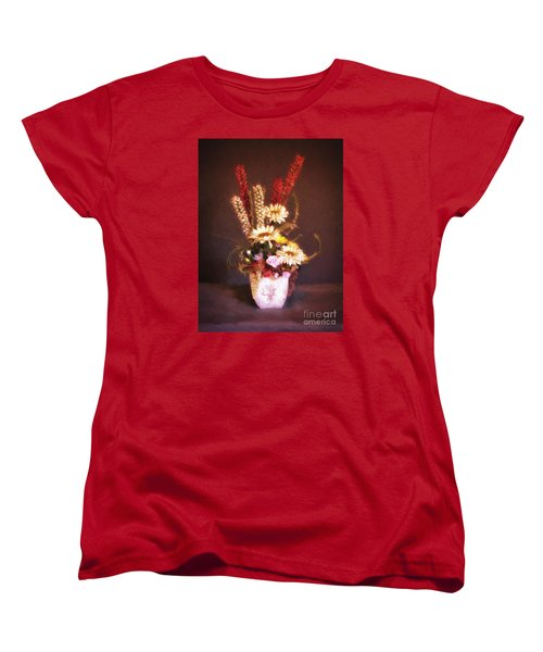 Women's T-Shirt (Standard Cut) featuring the photograph Vase With Flowers  ... by Chuck Caramella