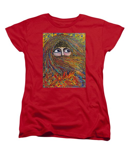 Women's T-Shirt (Standard Cut) featuring the painting Veiled by Rae Chichilnitsky