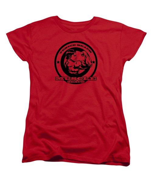 Venice Beach Arnold Muscle Women's T-Shirt (Standard Cut) by Alex Soro