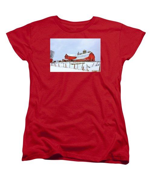 Women's T-Shirt (Standard Cut) featuring the digital art Vermont Barn by Sharon Batdorf