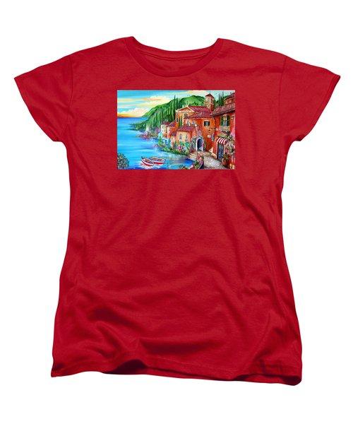 Via Positano By The Lake Women's T-Shirt (Standard Cut) by Roberto Gagliardi