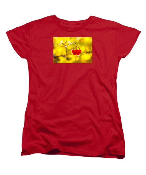 Women's T-Shirt (Standard Cut) featuring the photograph Viburnum Berries - Natural Olympic Emblem by Alexander Senin