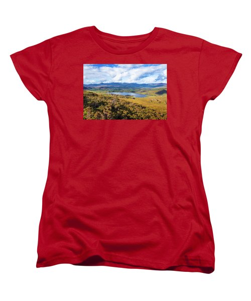 Women's T-Shirt (Standard Cut) featuring the photograph View Of Lough Acoose In Ballycullane From The Foothill Of Macgil by Semmick Photo
