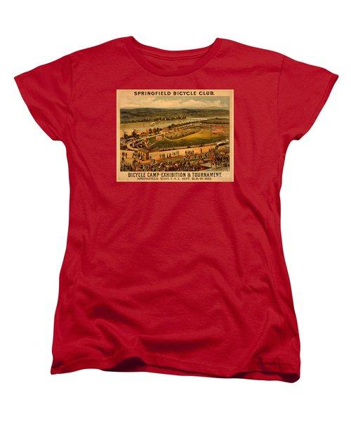 Vintage 1883 Springfield Bicycle Club Poster Women's T-Shirt (Standard Cut) by John Stephens