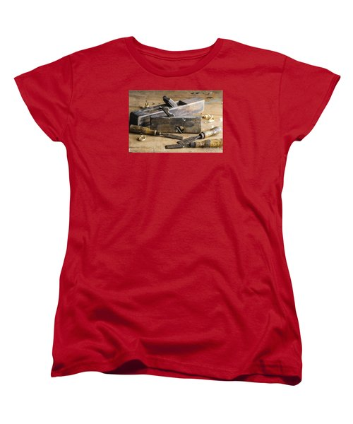 Women's T-Shirt (Standard Cut) featuring the photograph Vintage Carpentry Bench by Trevor Chriss