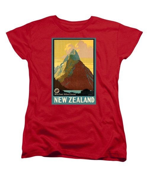 Vintage New Zealand Travel Poster Women's T-Shirt (Standard Cut) by George Pedro