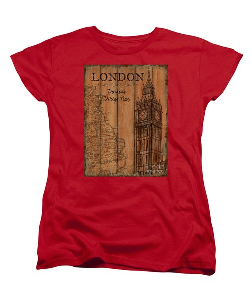 Women's T-Shirt (Standard Cut) featuring the painting Vintage Travel London by Debbie DeWitt