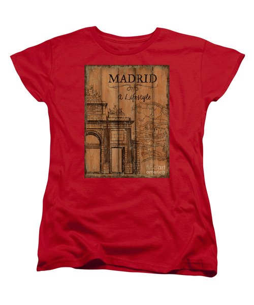 Women's T-Shirt (Standard Cut) featuring the painting Vintage Travel Madrid by Debbie DeWitt