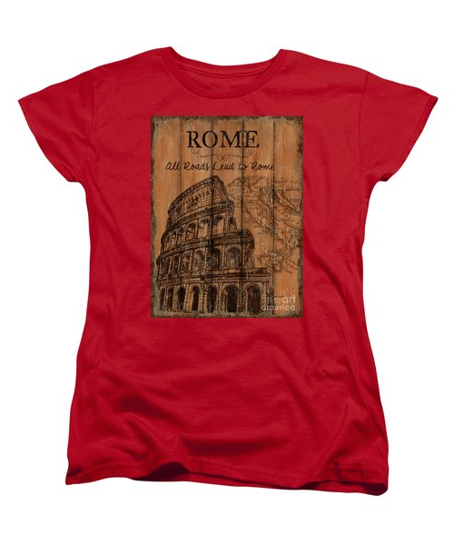 Women's T-Shirt (Standard Cut) featuring the painting Vintage Travel Rome by Debbie DeWitt