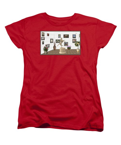 Women's T-Shirt (Standard Cut) featuring the mixed media Virtual Exhibition_statue Of A Horse by Pemaro