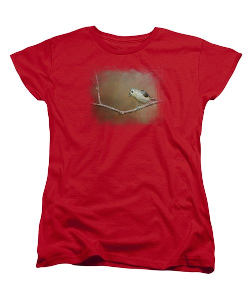 Visiting Tufted Titmouse Women's T-Shirt (Standard Cut) by Jai Johnson