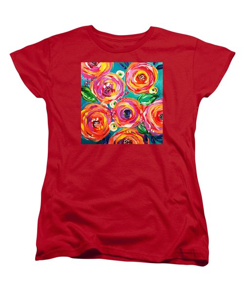 Vivid Flora Women's T-Shirt (Standard Cut) by DAKRI Sinclair
